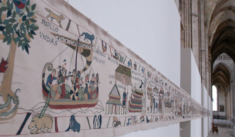 The Rollo Tapestry exhibited in Rouen, Normandy